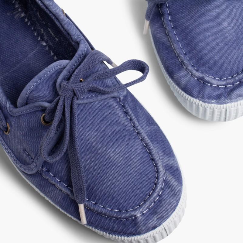 Sapatos de Vela de Lona com Sola Branca