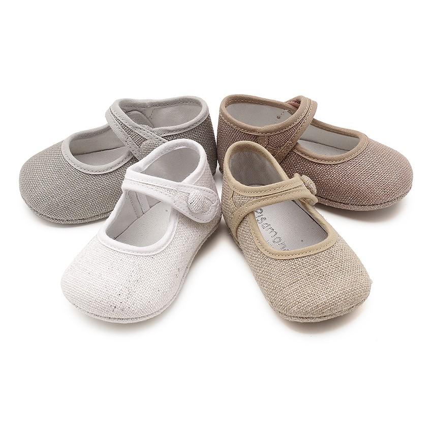 Sapatos Merceditas Bebé Linho Velcro