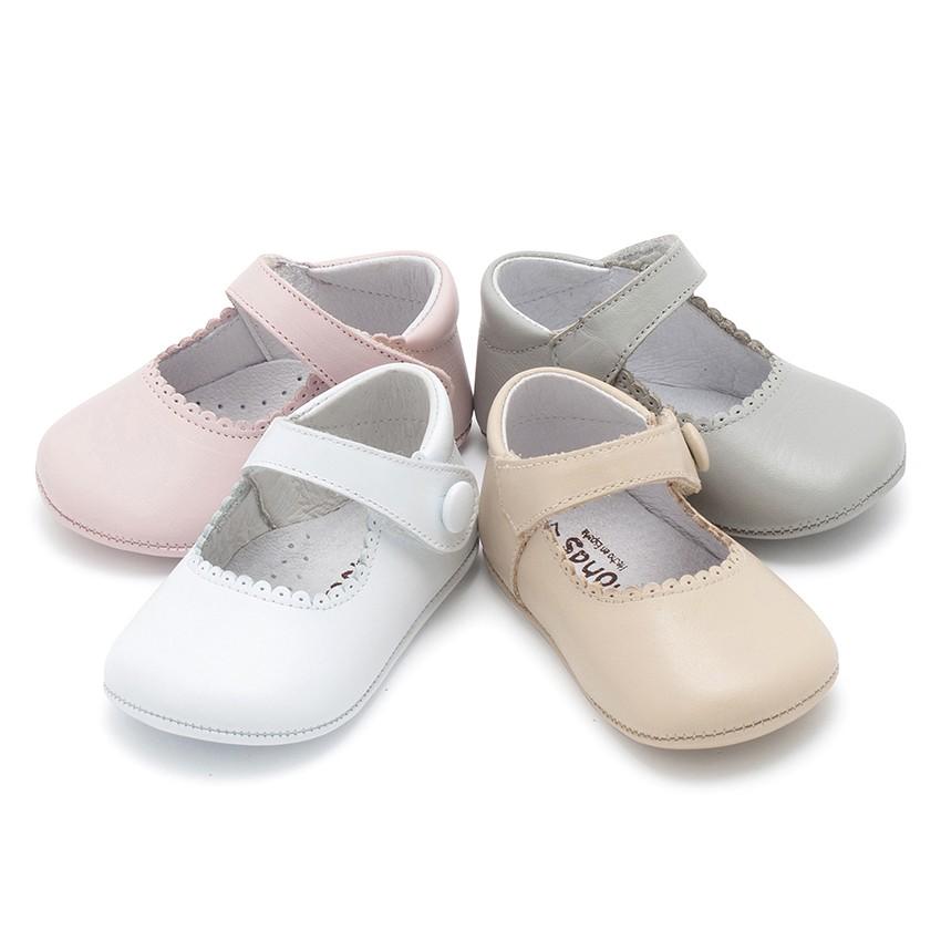 Sapato Mercedita Pele Bebé com Velcro