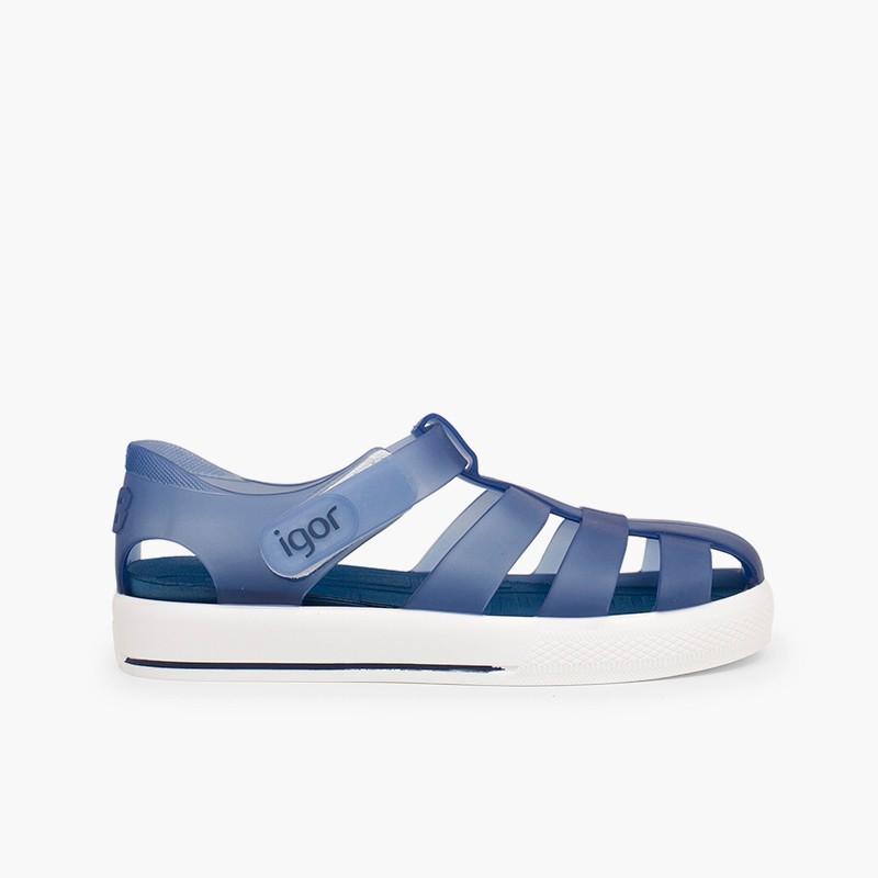 Sandálias de Borracha com Velcro tipo Ténis