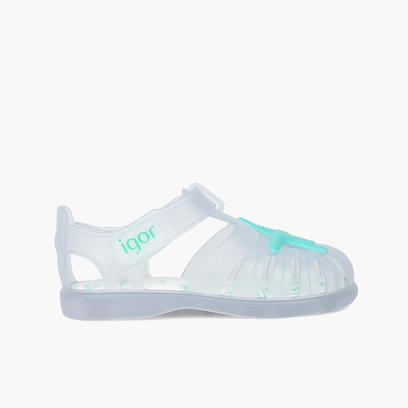Sandálias de Borracha Velcro com Estrela do Mar