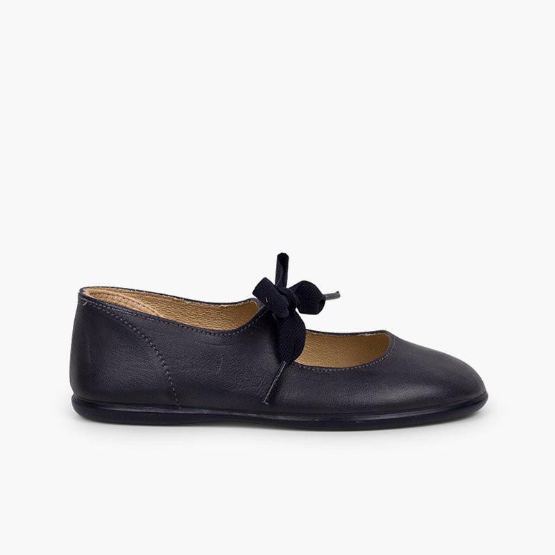 Sapatos Merceditas Pele Fecho Laço