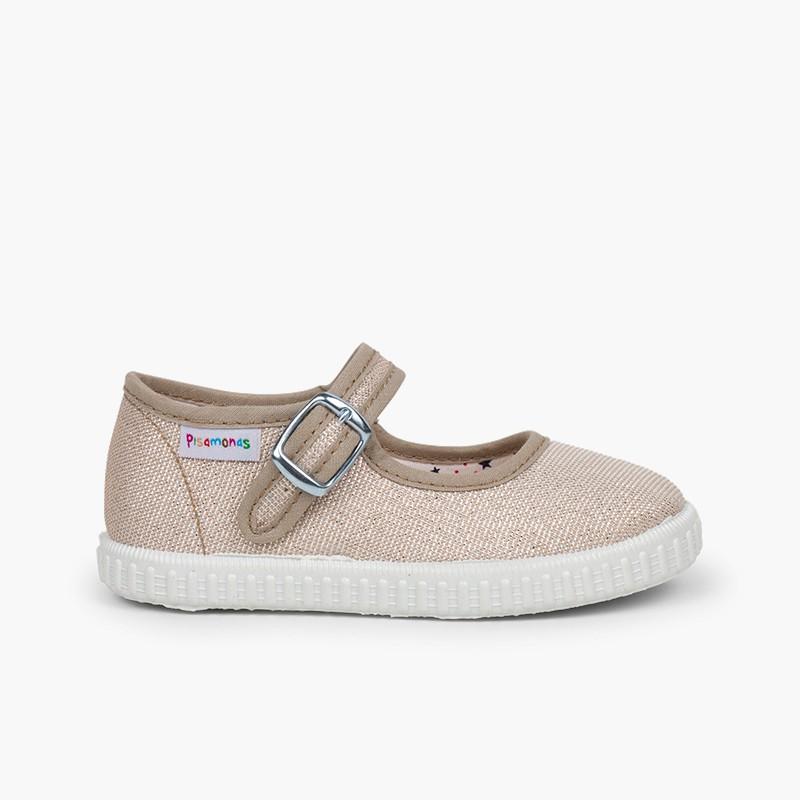 Sapatos Merceditas Fivela Lona com Brilhos