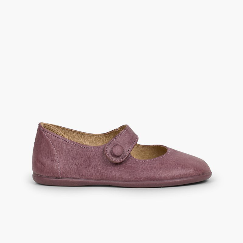 Sapatos Merceditas Menina Pele Velcro Botão