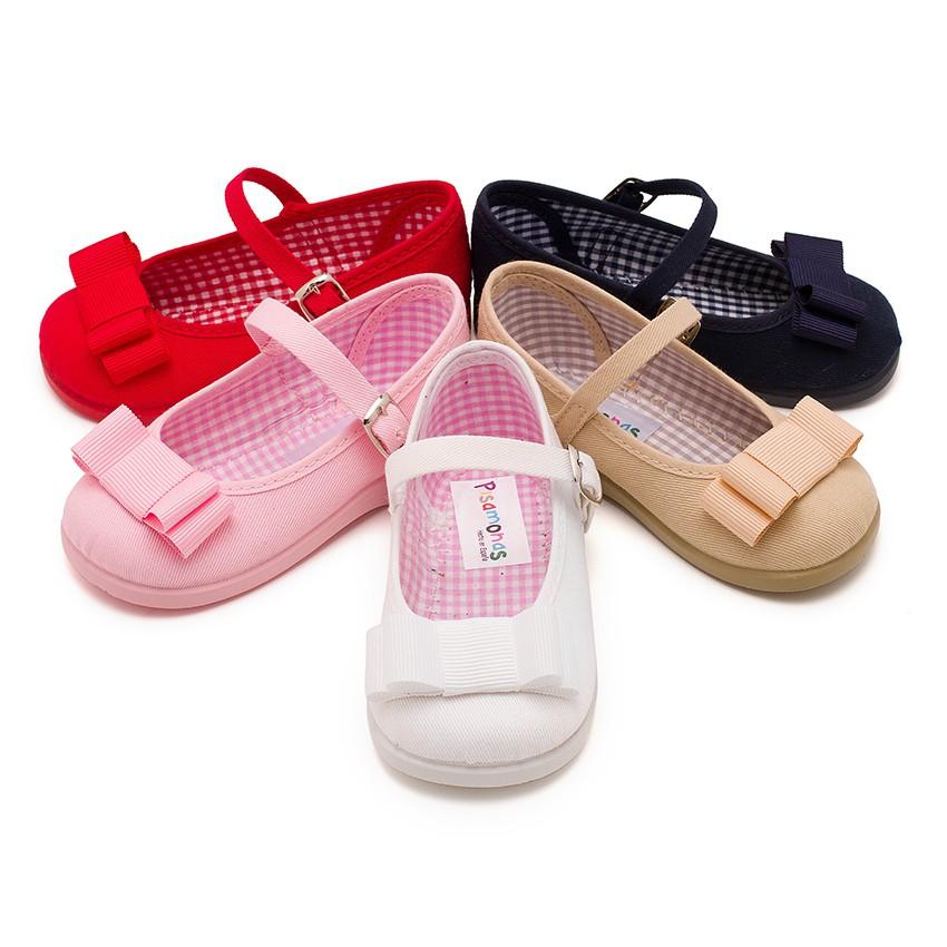 Sapatos Merceditas Lona Laço Duplo