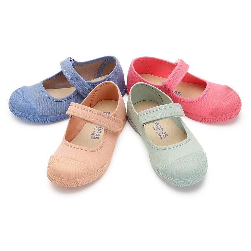 Sapatos Merceditas Lona Velcro Biqueira Borracha
