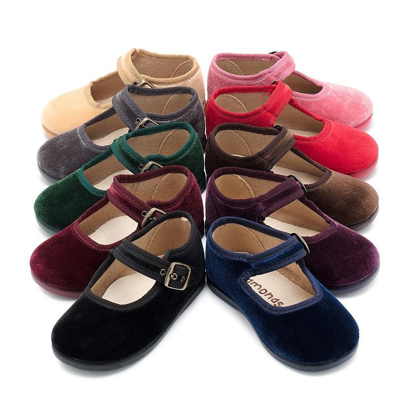 Sapatos Merceditas Veludo com Fivela