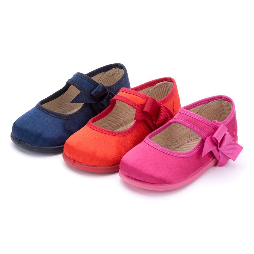 Sapatos Merceditas Menina de Cetim com tiras aderentes