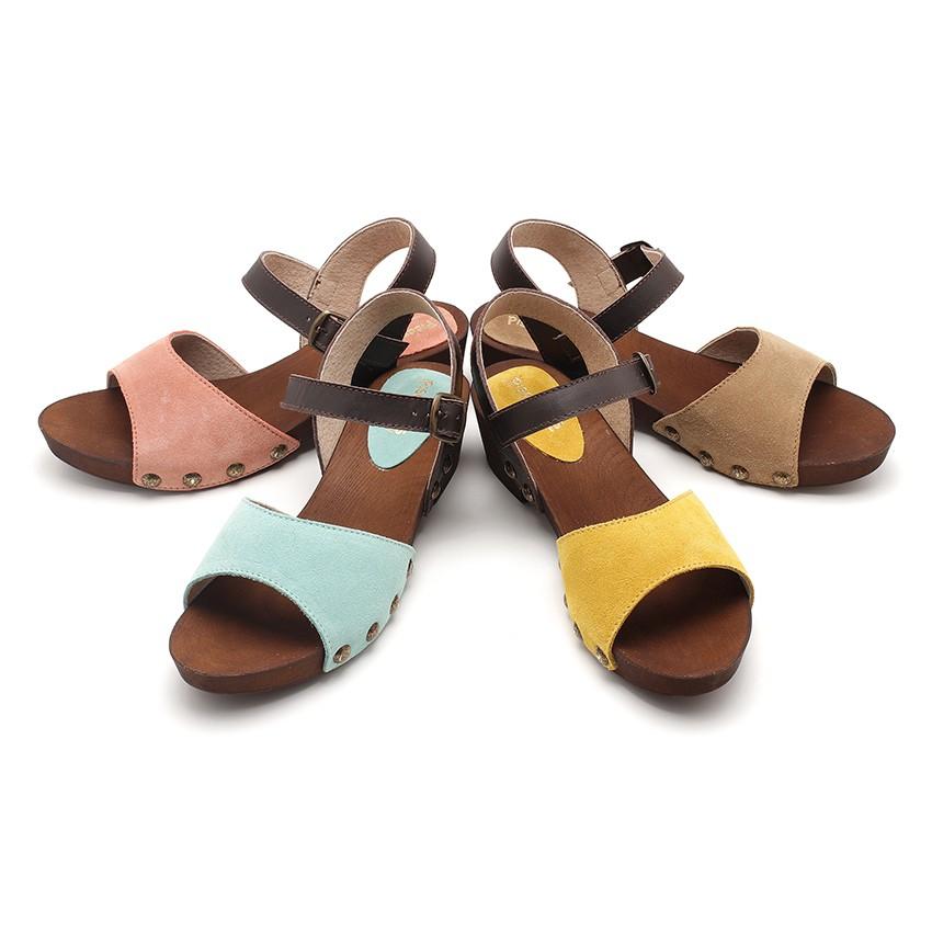 Sandálias Camurça Sola tipo Madeira