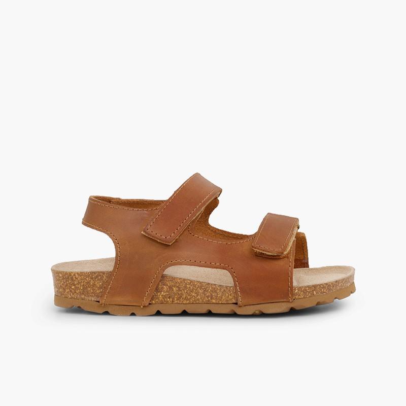 Sandálias Pele Bio Menino Duplo Velcro