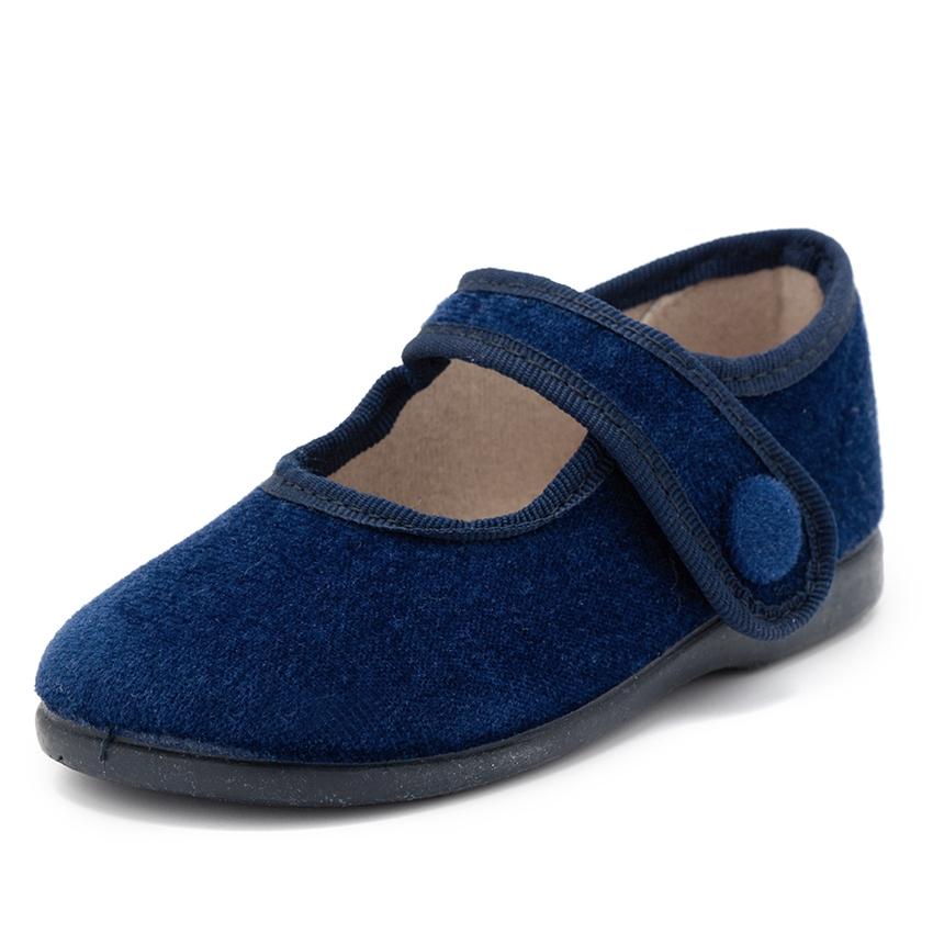 Sapatos Merceditas de Veludo com Botão Velcro
