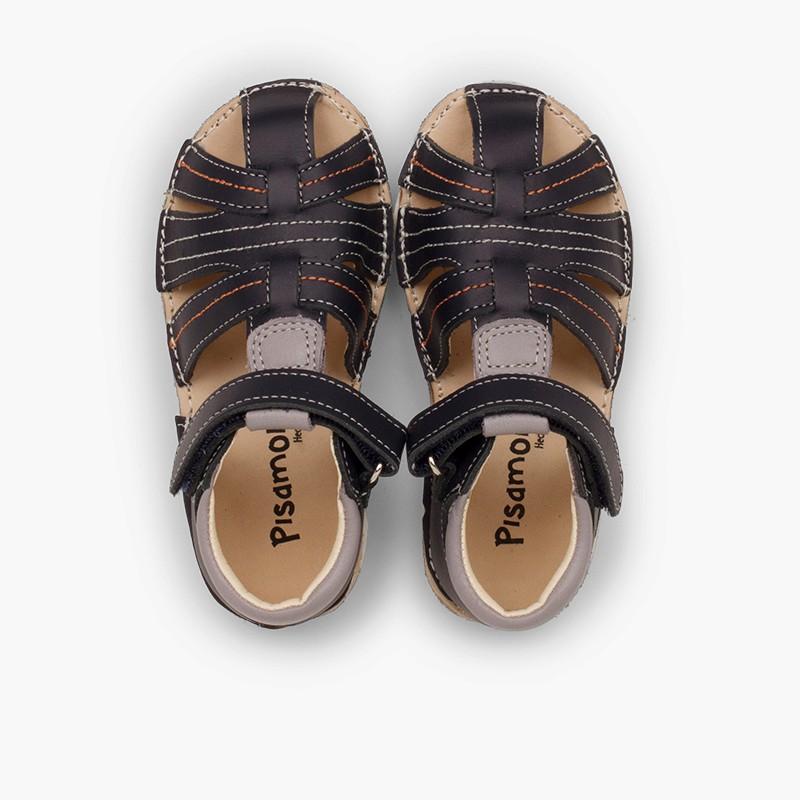 Sandálias Menino Pele Pespontos Velcro