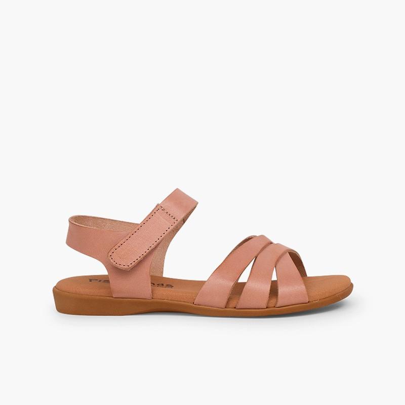 Sandálias Menina Pele Tiras Cruzadas Fecho Velcro