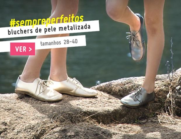 Bluchers de Pele Metalizada Coleção Primavera Verão 2017