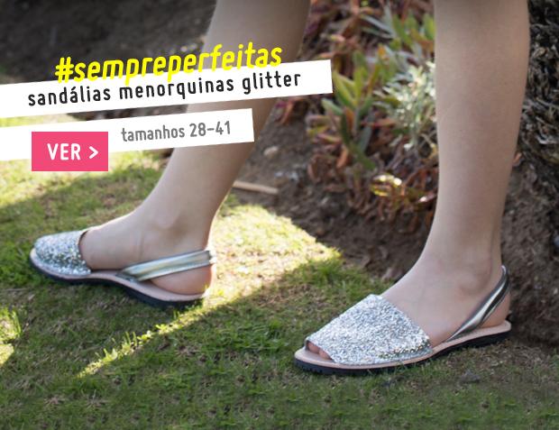 Sandálias Menorquinas Glitter Menina e Mulher Coleção Primavera Verão 2017