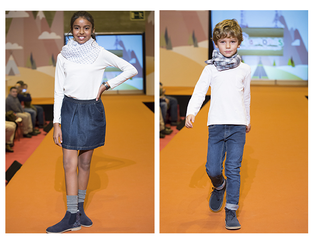 Desfile sapatos casual menino e menina