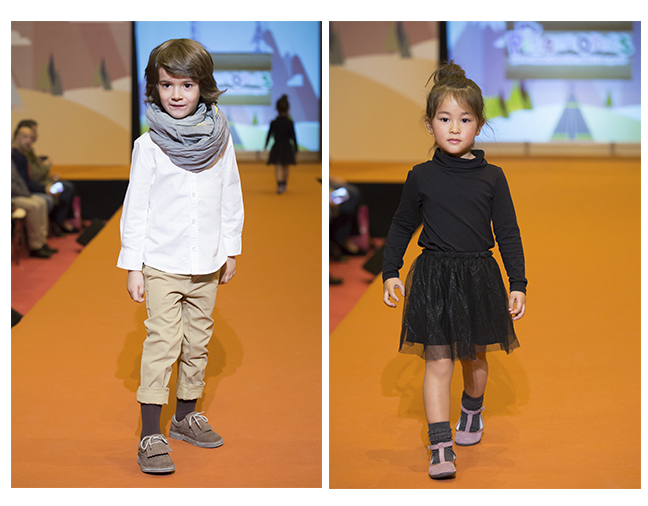 Desfile sapatos de festa menina e menino
