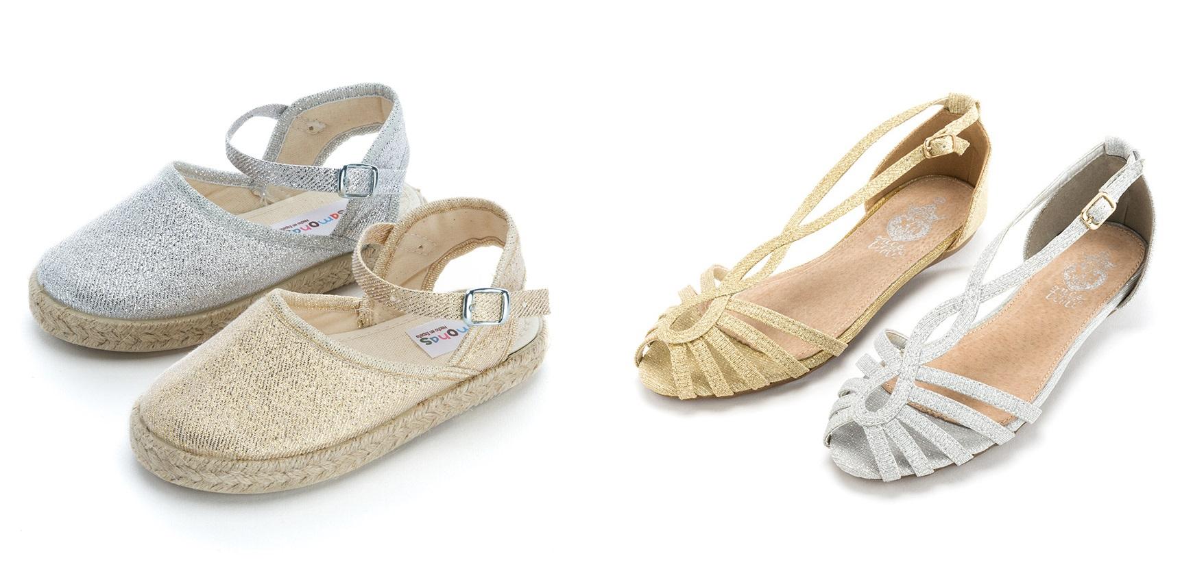 Alpargatas e sandálias de brilho para meninas