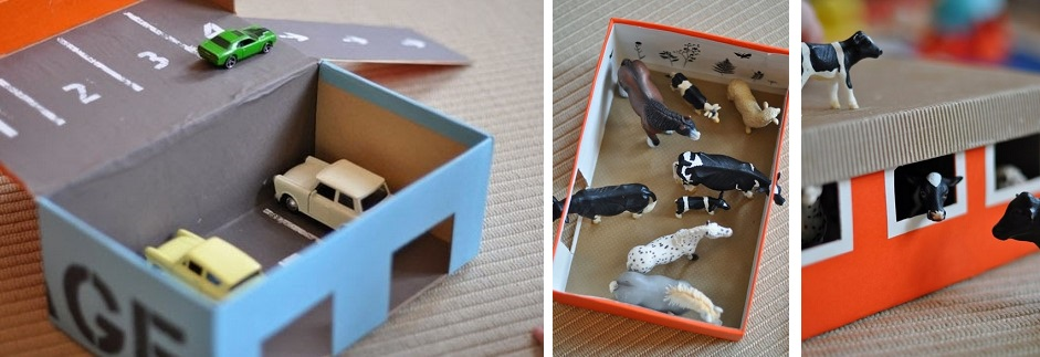 Trabalhos manuais com caixas de sapatos